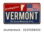 greetings from vermont vintage... | Shutterstock .eps vector #1019358433