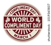 world compliment day  march 01  ... | Shutterstock .eps vector #1019365837