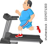 fat man running on treadmill | Shutterstock .eps vector #1019371303