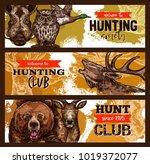hunting sport banner for hunter ... | Shutterstock .eps vector #1019372077