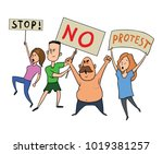 protesting people. a group of... | Shutterstock .eps vector #1019381257