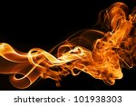 fire and smoke  isolated on black - stock photo