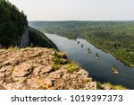 landscape with a river and... | Shutterstock . vector #1019397373