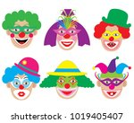 set of face of clowns  icons.... | Shutterstock .eps vector #1019405407