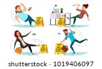 caution wet floor sign vector.... | Shutterstock .eps vector #1019406097