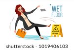 woman slips on wet floor vector.... | Shutterstock .eps vector #1019406103