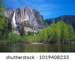 the impressive yosemite falls... | Shutterstock . vector #1019408233
