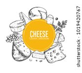 cheese collection. vector hand... | Shutterstock .eps vector #1019420767