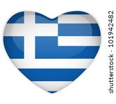 Vector - Greece Flag Heart Glossy Button - stock vector