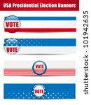 Vector - Vote Banners. Set of four with Background - stock vector