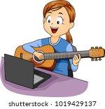 illustration of a kid girl... | Shutterstock .eps vector #1019429137