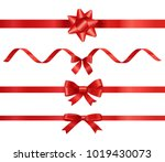 different red ribbons set... | Shutterstock .eps vector #1019430073