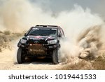 Small photo of TERUEL, SPAIN - JUL 22 : Portuguese driver Joao Ramos and his codriver Vitor Jesus in a Toyota Hilux Overdrive race in the XXXIV Baja Spain, on Jul 22, 2017 in Teruel, Spain.