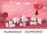 cute couple in love hugging ... | Shutterstock .eps vector #1019453467