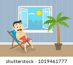 sweating man sitting on his... | Shutterstock .eps vector #1019461777