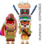 character from papua new guinea ... | Shutterstock .eps vector #1019463823