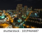aerial night image of miami... | Shutterstock . vector #1019464687