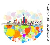 colorful frankfurt skyline... | Shutterstock .eps vector #1019468947