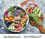 grilled tofu and dragon fruit... | Shutterstock . vector #1019486137