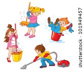 children  busy cleaning up... | Shutterstock . vector #101949457