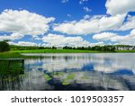 blue sky and white clouds over...   Shutterstock . vector #1019503357