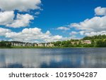 blue sky and white clouds over...   Shutterstock . vector #1019504287