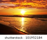 sea sunset - stock photo