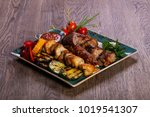 grilled plate mix assortment...   Shutterstock . vector #1019541307