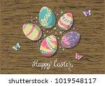 hand drawn easter eggs... | Shutterstock .eps vector #1019548117