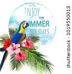 summer holidays background with ... | Shutterstock .eps vector #1019550013