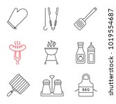 barbecue linear icons set. bbq. ... | Shutterstock .eps vector #1019554687