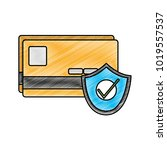grated finance credit card with ... | Shutterstock .eps vector #1019557537