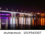 night view of illuminated... | Shutterstock . vector #1019565307