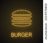 burger cutaway neon light icon. ... | Shutterstock .eps vector #1019570803