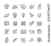 school subjects related icons ... | Shutterstock .eps vector #1019574697