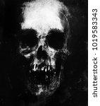 scary skull isolated on black... | Shutterstock . vector #1019583343