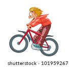 boy on a bicycle vector on a... | Shutterstock .eps vector #101959267