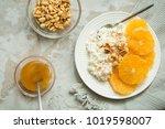 healthy light breakfast ... | Shutterstock . vector #1019598007
