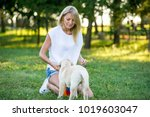 beautiful girl playing with a...   Shutterstock . vector #1019603047