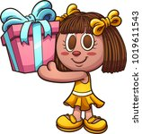 tan cartoon doll holding a... | Shutterstock .eps vector #1019611543
