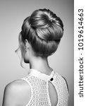 blonde girl with elegant and... | Shutterstock . vector #1019614663
