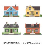 set of 4 different residential...   Shutterstock .eps vector #1019626117