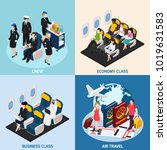airplane passengers and crew... | Shutterstock .eps vector #1019631583
