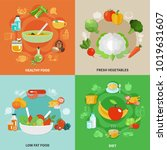four squares healthy eating... | Shutterstock .eps vector #1019631607