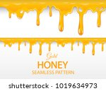 liquid honey dripping from the... | Shutterstock .eps vector #1019634973