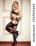 sexy woman in seductive black... | Shutterstock . vector #1019641663