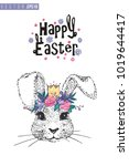 easter greeting card with silly ... | Shutterstock .eps vector #1019644417