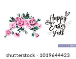 easter greeting card with rose... | Shutterstock .eps vector #1019644423