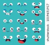 set of emoji emoticon cartoon  | Shutterstock .eps vector #1019651917