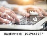 woman typing computer | Shutterstock . vector #1019665147